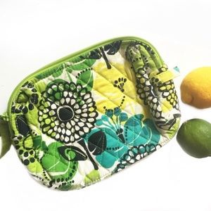 Vera Bradley green and yellow cosmetic bag